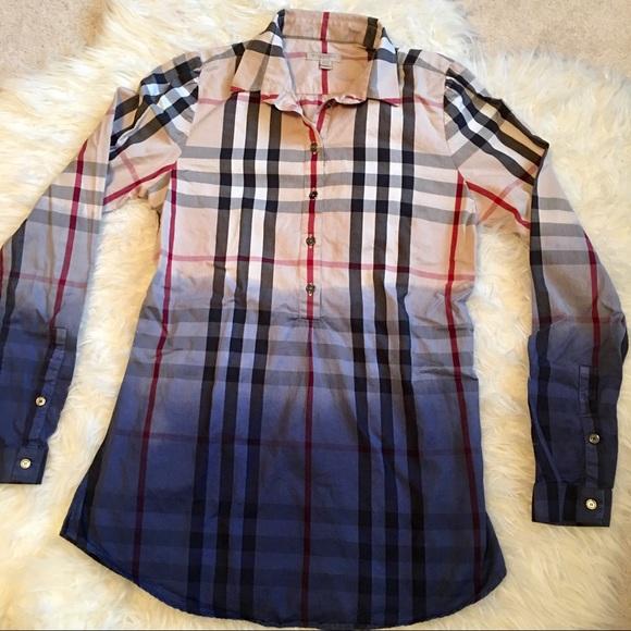 Burberry Tops - Burberry Brit Nova Check Tunic Shirt ee52d6666